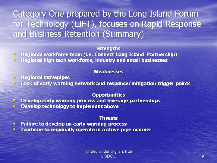 Category One prepared by the Long Island Forum for Technology (LIFT), focuses on Rapid