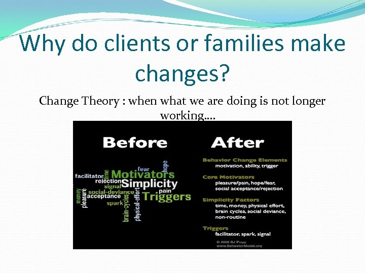 Why do clients or families make changes? Change Theory : when what we are