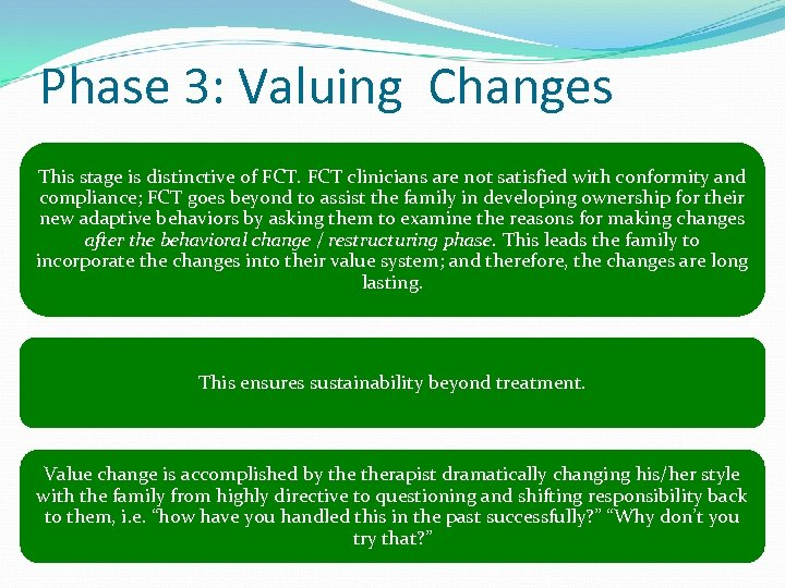 Phase 3: Valuing Changes This stage is distinctive of FCT clinicians are not satisfied