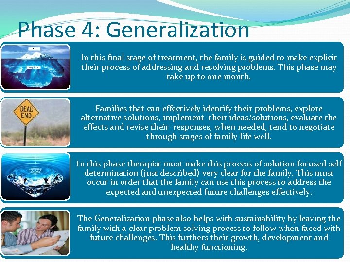 Phase 4: Generalization In this final stage of treatment, the family is guided to