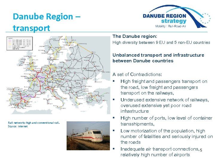 Danube Region – transport The Danube region: High diversity between 9 EU and 5