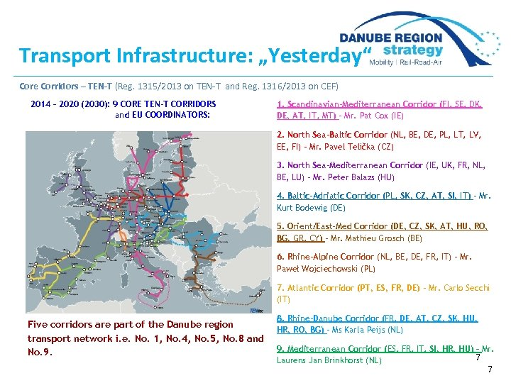"Transport Infrastructure: ""Yesterday"" Core Corridors – TEN-T (Reg. 1315/2013 on TEN-T and Reg. 1316/2013"