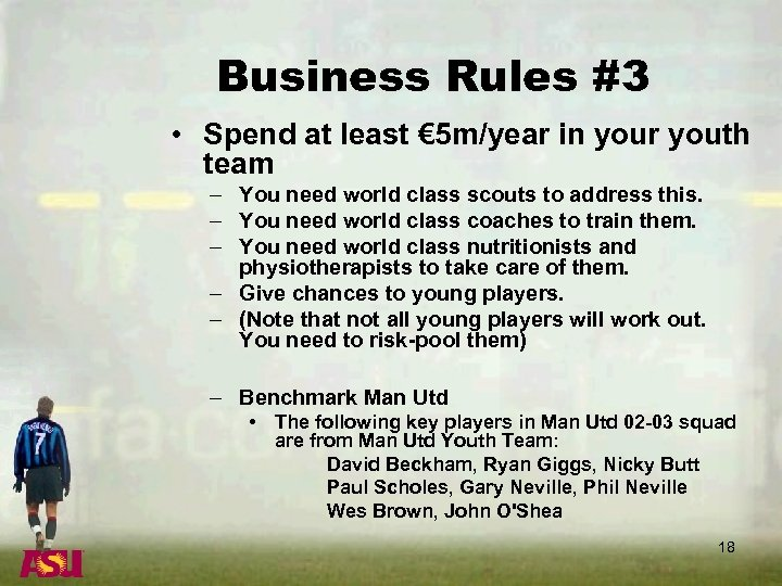 Business Rules #3 • Spend at least € 5 m/year in your youth team