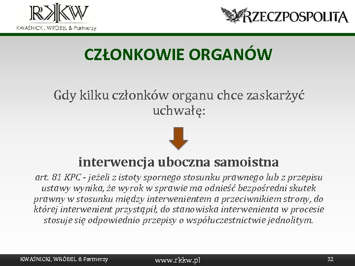 CZŁONKOWIE ORGANÓW Gdy kilku członków organu chce zaskarżyć uchwałę: interwencja uboczna samoistna art. 81