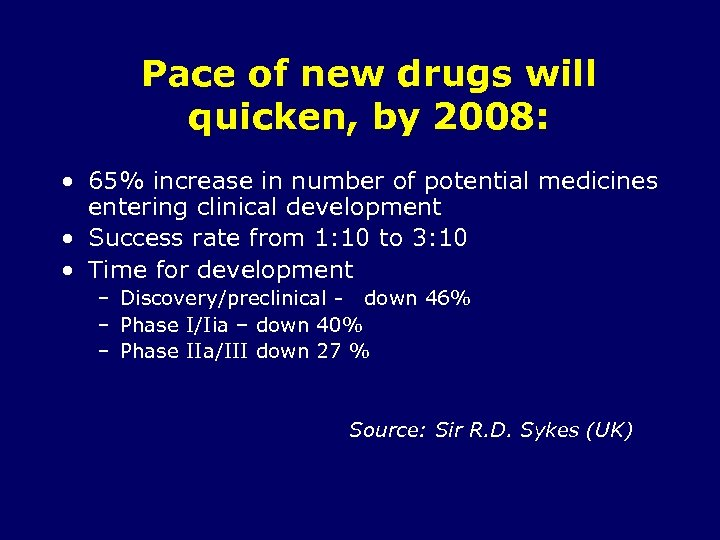 Pace of new drugs will quicken, by 2008: • 65% increase in number of