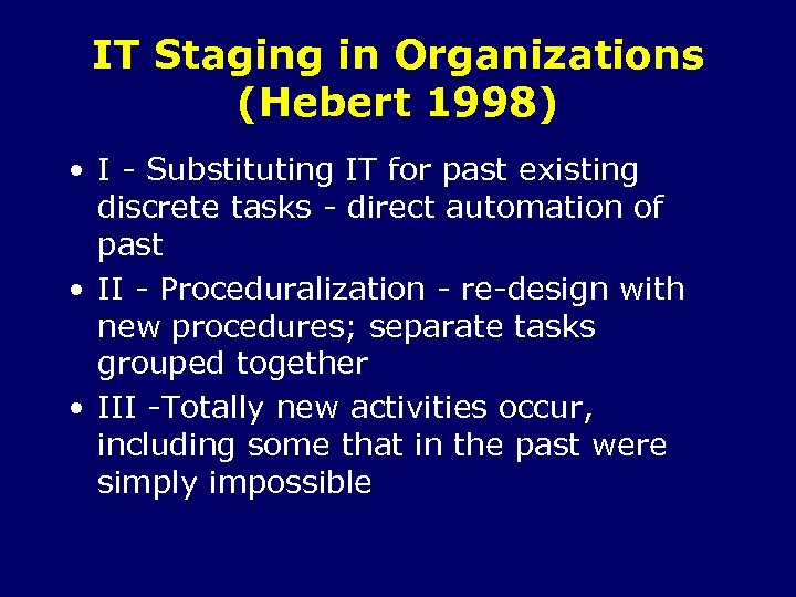 IT Staging in Organizations (Hebert 1998) • I - Substituting IT for past existing