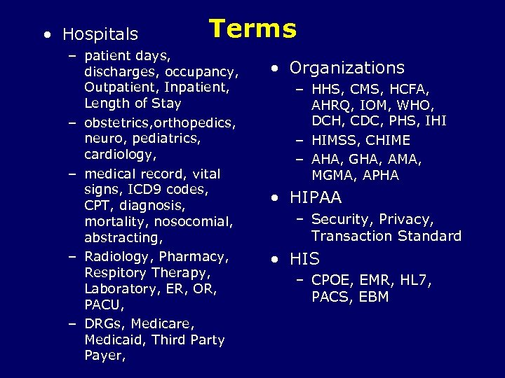 • Hospitals Terms – patient days, discharges, occupancy, Outpatient, Inpatient, Length of Stay
