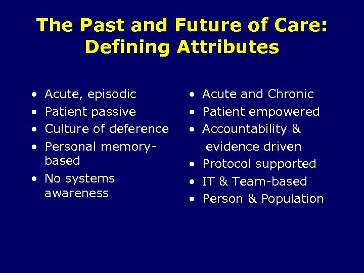 The Past and Future of Care: Defining Attributes • • Acute, episodic Patient passive