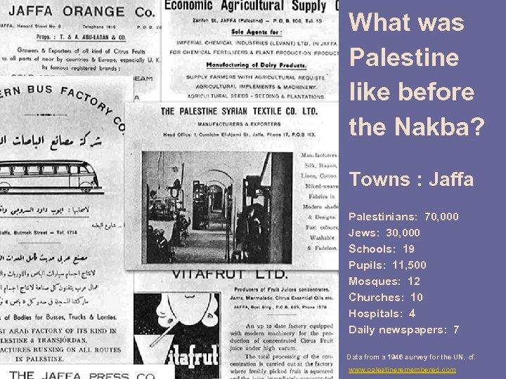 What was Palestine like before the Nakba? Towns : Jaffa Palestinians: 70, 000 Jews: