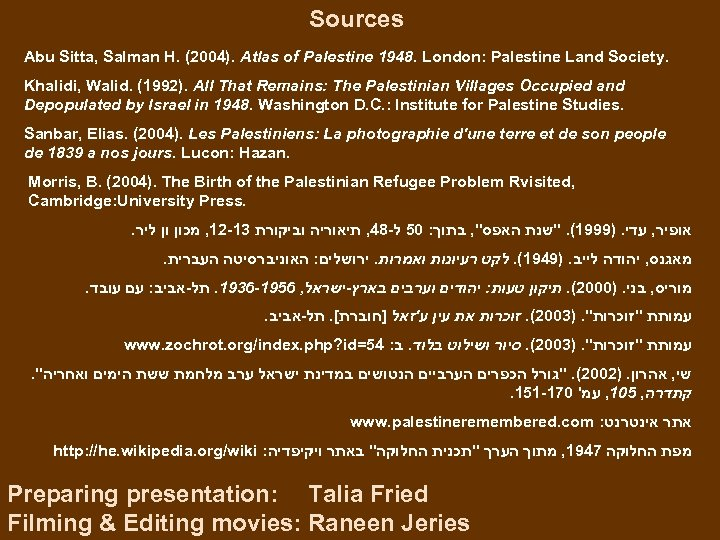 Sources Abu Sitta, Salman H. (2004). Atlas of Palestine 1948. London: Palestine Land Society.