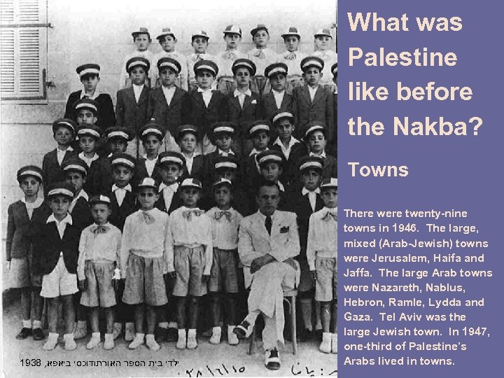 What was Palestine like before the Nakba? Towns 1938 , ילדי בית הספר האורתודוכסי