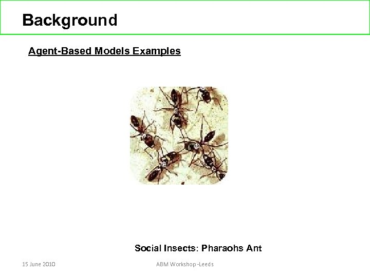 Background Agent-Based Models Examples Social Insects: Pharaohs Ant 15 June 2010 ABM Workshop -Leeds