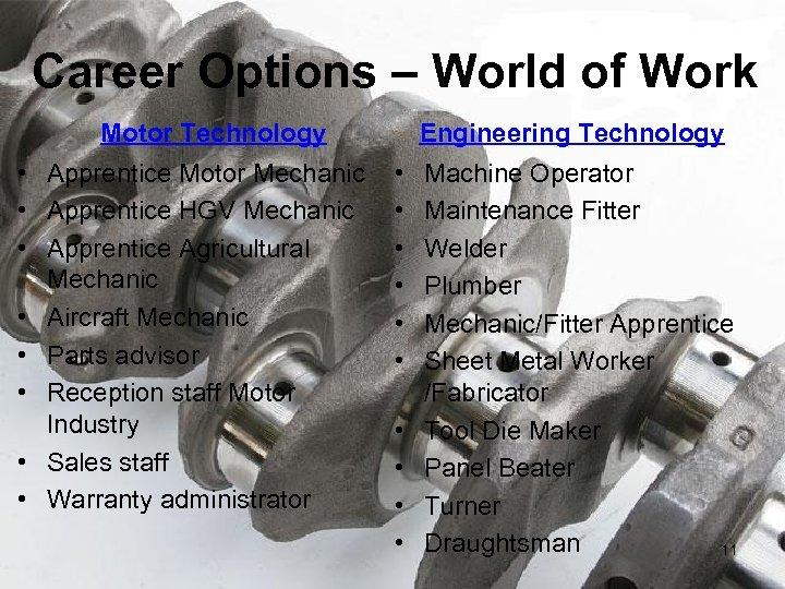 Career Options – World of Work Motor Technology • Apprentice Motor Mechanic • Apprentice