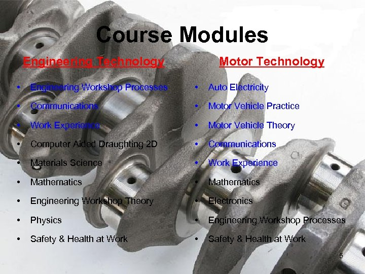 Course Modules Engineering Technology Motor Technology • Engineering Workshop Processes • Auto Electricity