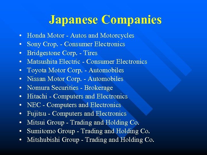 Japanese Companies • • • • Honda Motor - Autos and Motorcycles Sony Crop.