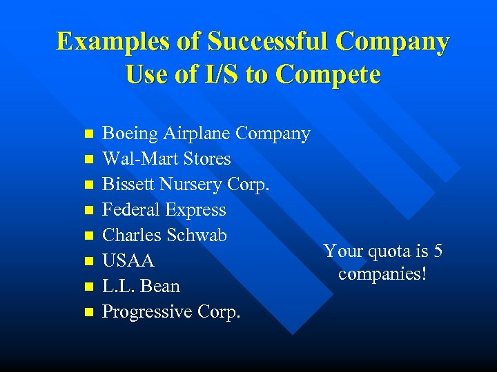 Examples of Successful Company Use of I/S to Compete n n n n Boeing