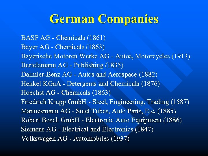 German Companies BASF AG - Chemicals (1861) Bayer AG - Chemicals (1863) Bayerische Motoren