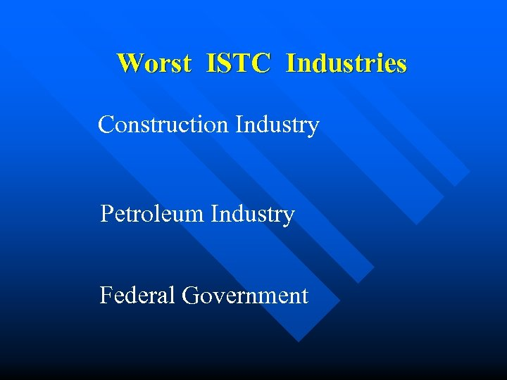 Worst ISTC Industries Construction Industry Petroleum Industry Federal Government