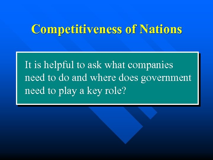 Competitiveness of Nations It is helpful to ask what companies need to do and