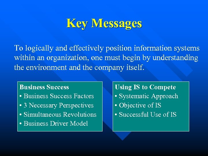 Key Messages To logically and effectively position information systems within an organization, one must