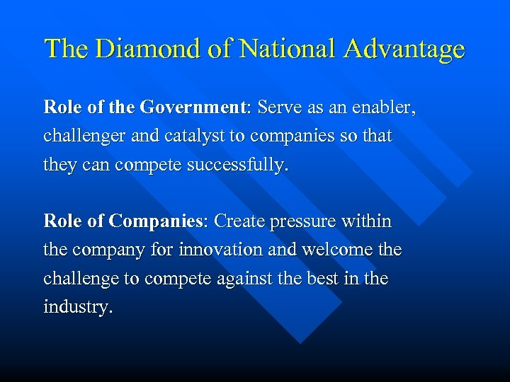 The Diamond of National Advantage Role of the Government: Serve as an enabler, challenger