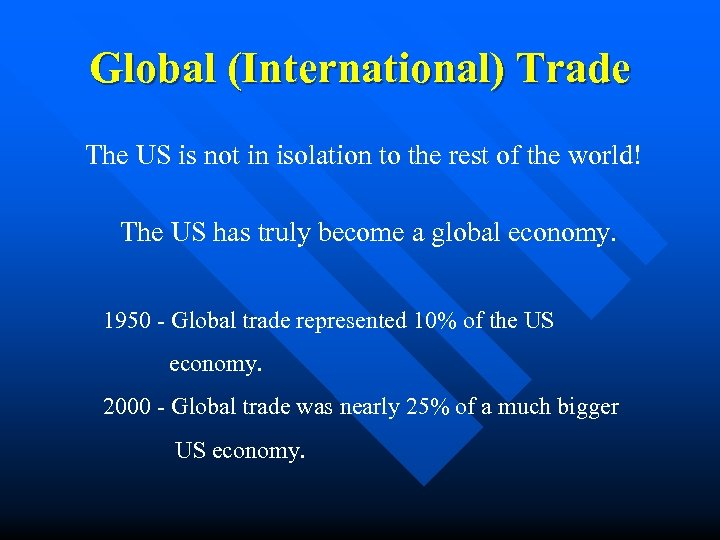 Global (International) Trade The US is not in isolation to the rest of the
