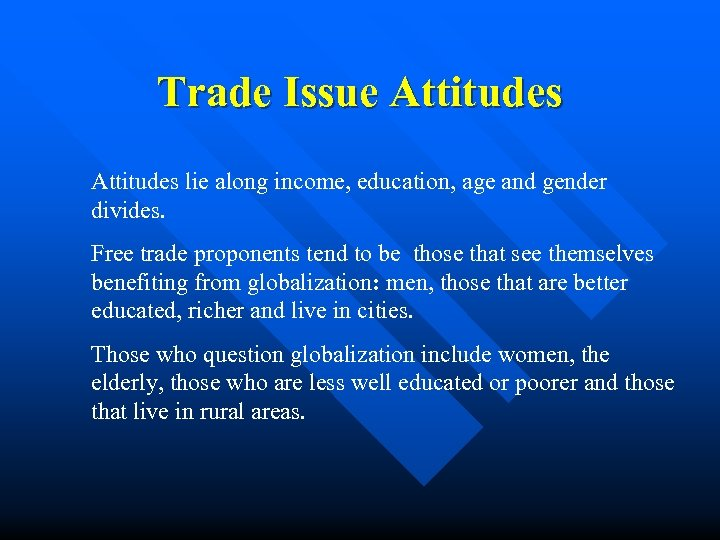 Trade Issue Attitudes lie along income, education, age and gender divides. Free trade proponents