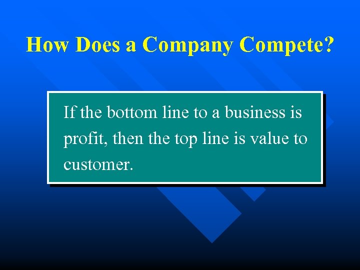 How Does a Company Compete? If the bottom line to a business is profit,