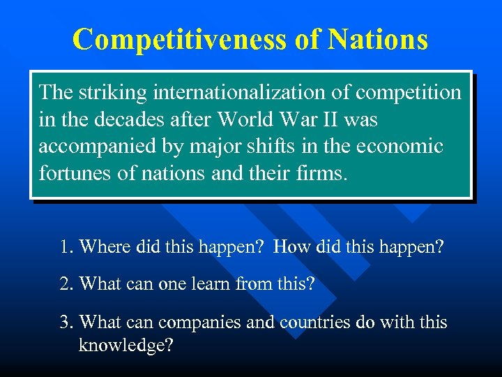 Competitiveness of Nations The striking internationalization of competition in the decades after World War