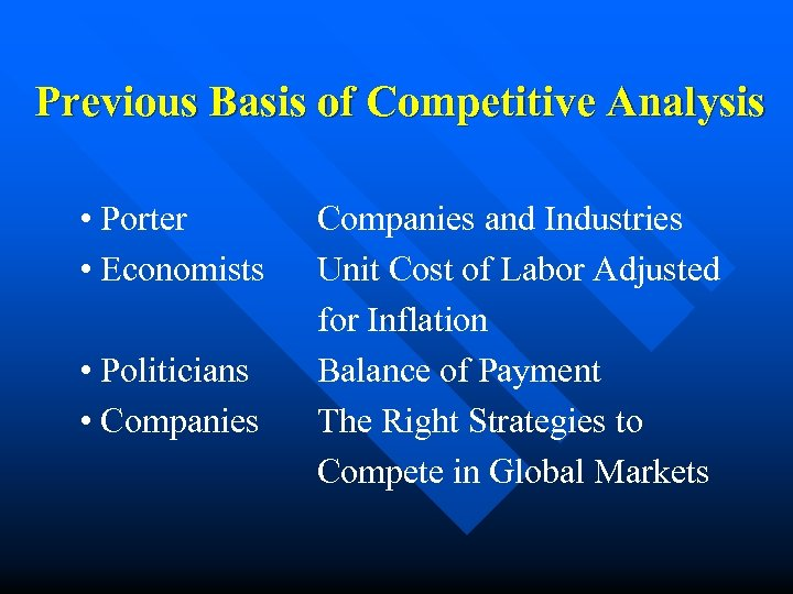 Previous Basis of Competitive Analysis • Porter • Economists • Politicians • Companies and