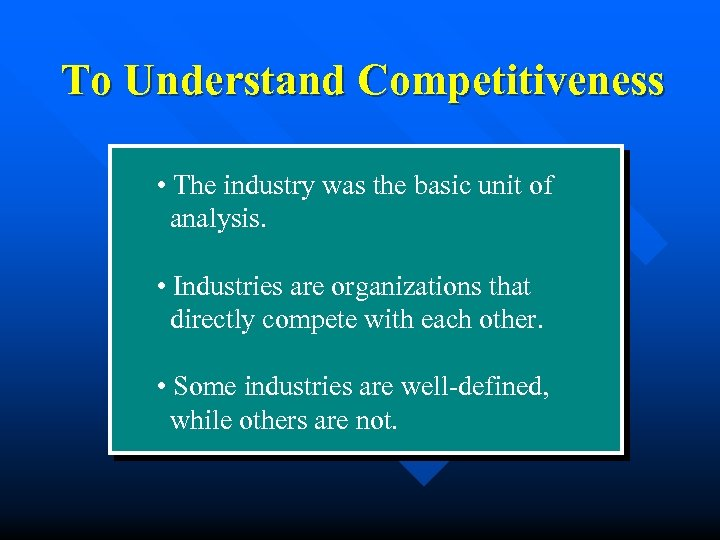 To Understand Competitiveness • The industry was the basic unit of analysis. • Industries