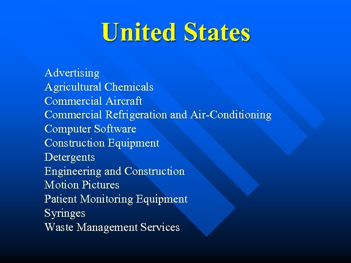 United States Advertising Agricultural Chemicals Commercial Aircraft Commercial Refrigeration and Air-Conditioning Computer Software Construction