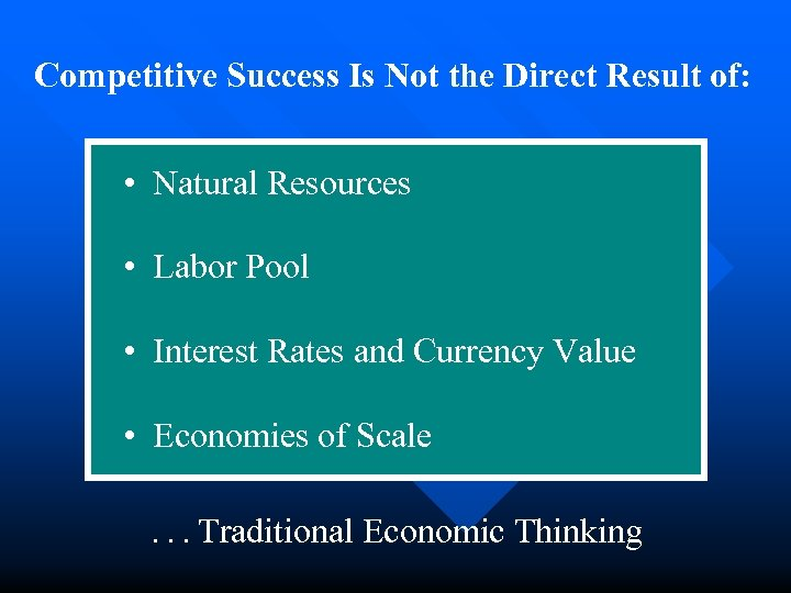Competitive Success Is Not the Direct Result of: • Natural Resources • Labor Pool