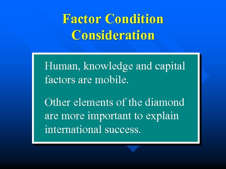 Factor Condition Consideration Human, knowledge and capital factors are mobile. Other elements of the