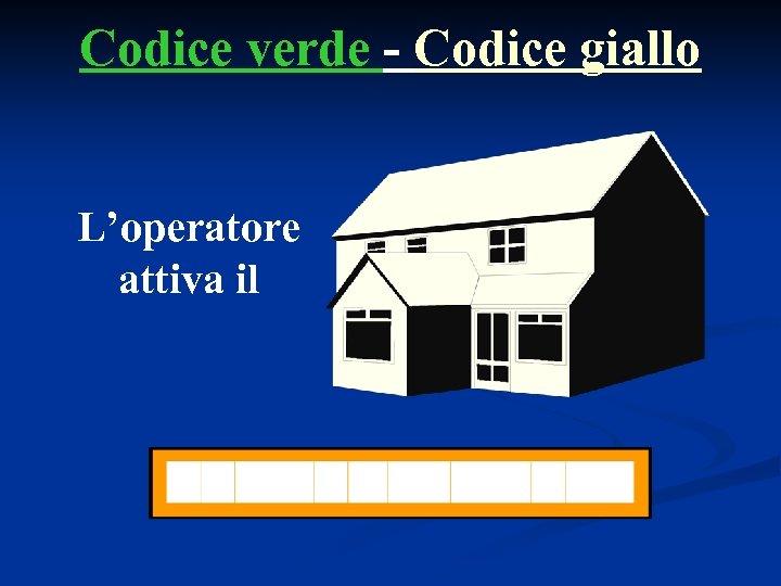 Codice verde - Codice giallo L'operatore attiva il