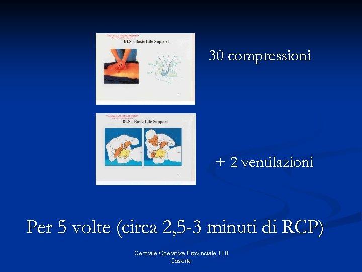 30 compressioni + 2 ventilazioni Per 5 volte (circa 2, 5 -3 minuti di