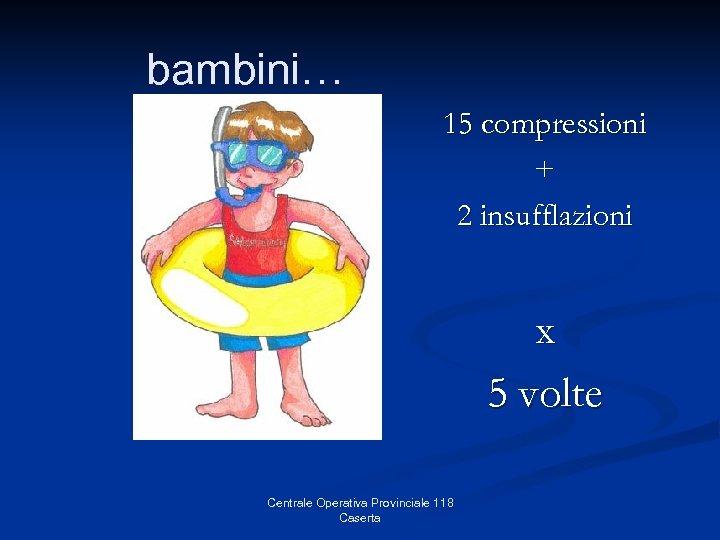 bambini… 15 compressioni + 2 insufflazioni x 5 volte Centrale Operativa Provinciale 118 Caserta