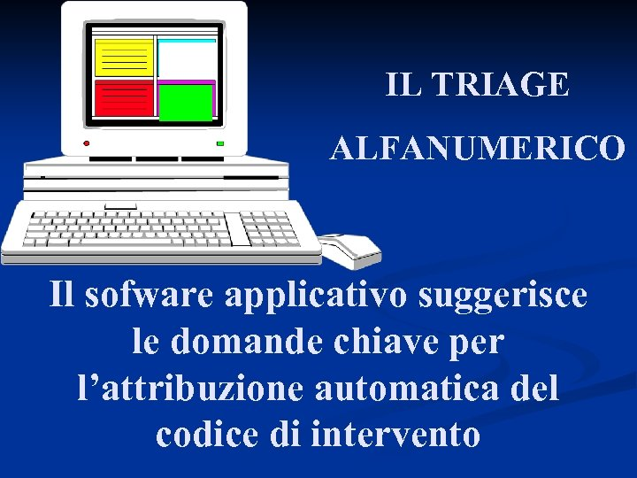 IL TRIAGE ALFANUMERICO Il sofware applicativo suggerisce le domande chiave per l'attribuzione automatica del