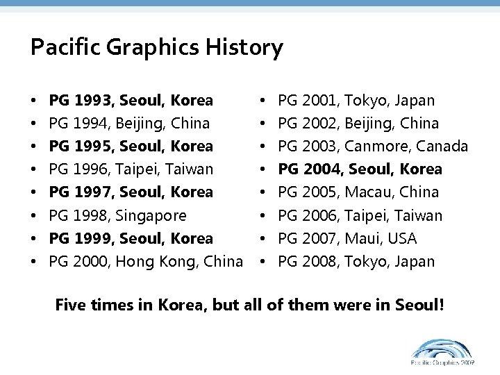 Pacific Graphics History • • PG 1993, Seoul, Korea PG 1994, Beijing, China PG