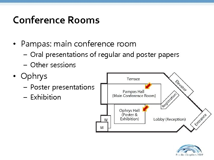 Conference Rooms • Pampas: main conference room – Oral presentations of regular and poster
