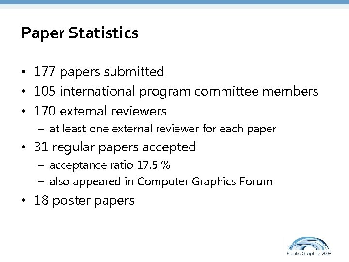 Paper Statistics • 177 papers submitted • 105 international program committee members • 170