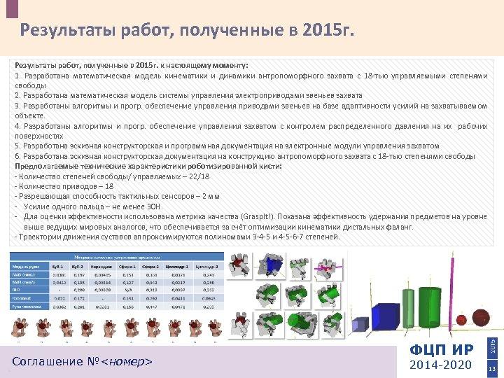 Результаты работ, полученные в 2015 г. к настоящему моменту: 1. Разработана математическая модель кинематики
