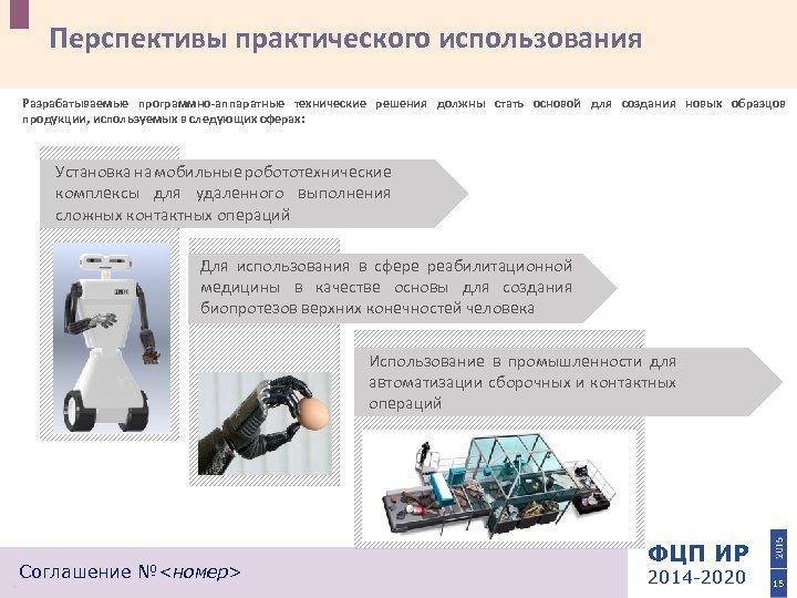 Перспективы практического использования Разрабатываемые программно-аппаратные технические решения должны стать основой для создания новых образцов
