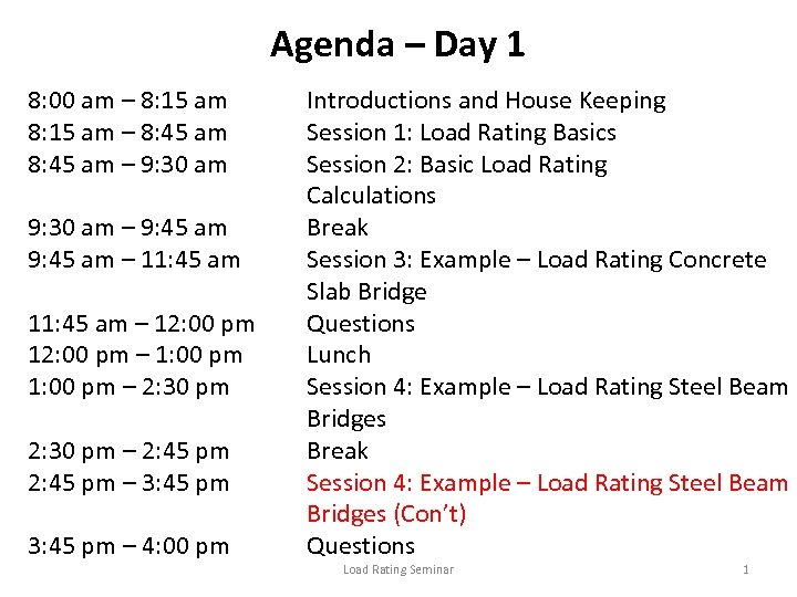 Agenda – Day 1 8: 00 am – 8: 15 am – 8: 45