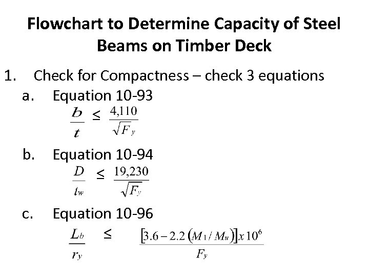 Flowchart to Determine Capacity of Steel Beams on Timber Deck 1. Check for Compactness