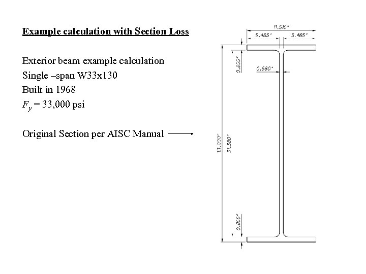 Example calculation with Section Loss Exterior beam example calculation Single –span W 33 x