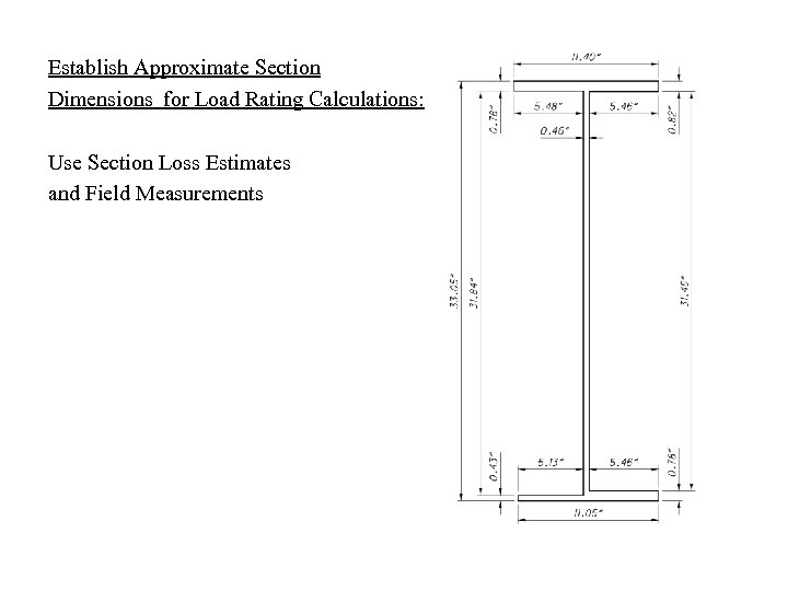 Establish Approximate Section Dimensions for Load Rating Calculations: Use Section Loss Estimates and Field