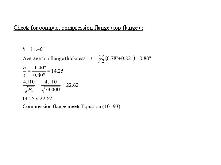Check for compact compression flange (top flange) :