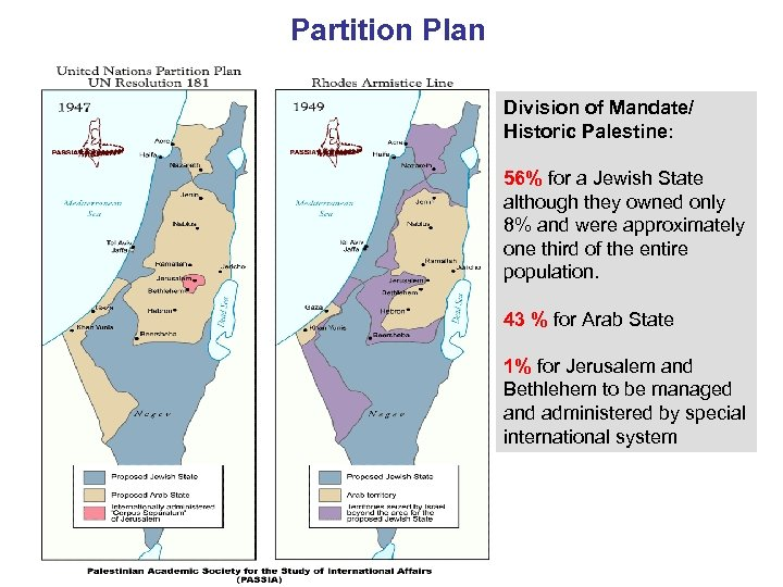 Partition Plan Division of Mandate/ Historic Palestine: 56% for a Jewish State although they