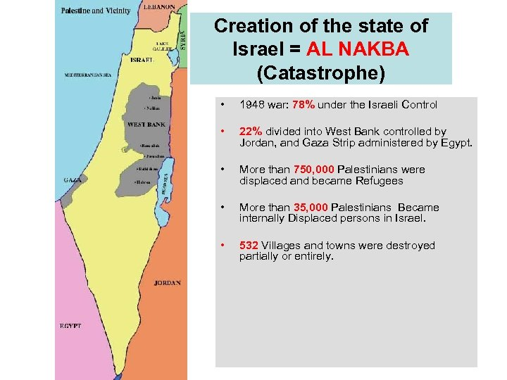 Creation of the state of Israel = AL NAKBA (Catastrophe) • 1948 war: 78%